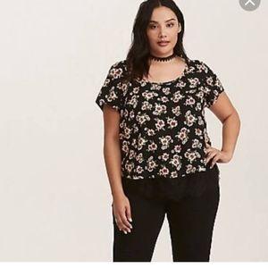 Torrid Black Lace Floral Boho Blouse Top 4X